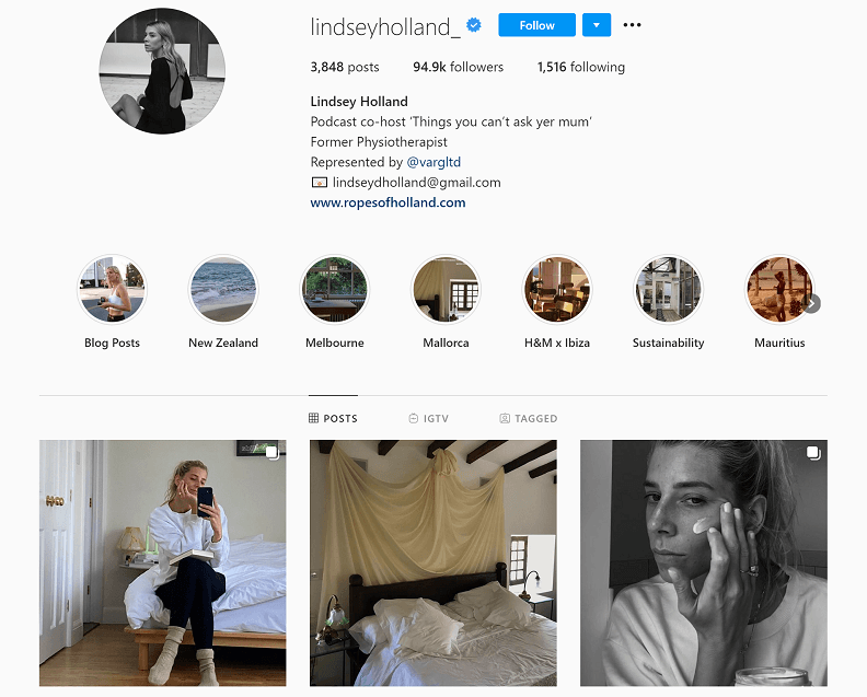 Lindsey Holland Instagram account