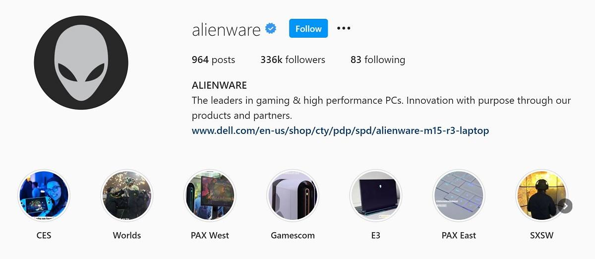 Alienware Instagram bio