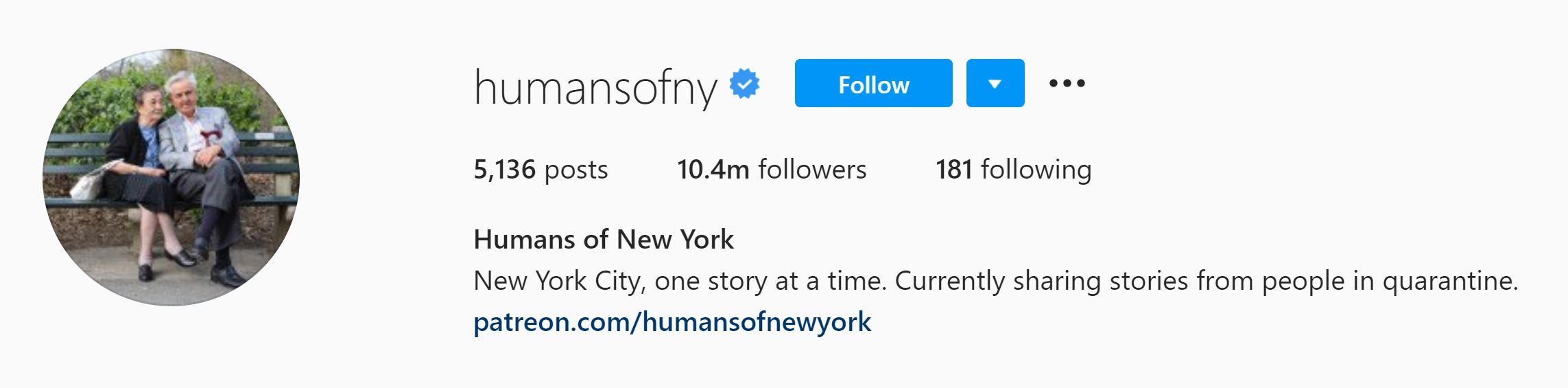 Humans of NY Instagram bio