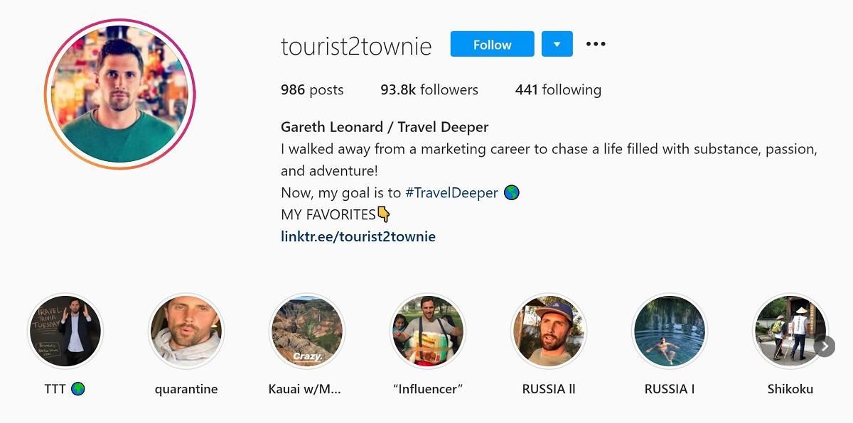 Tourist 2 Townie Instagram bio