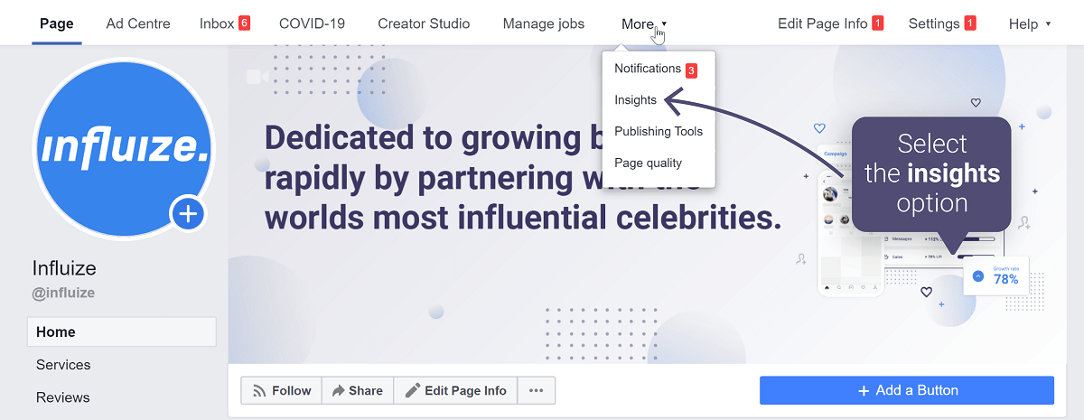 Check Facebook insights