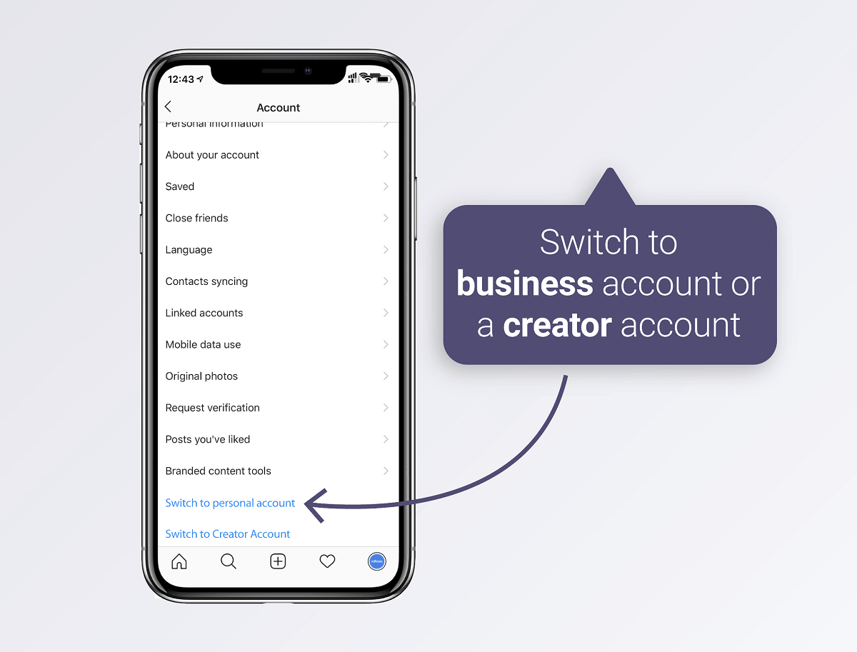 Switch to business or creator account