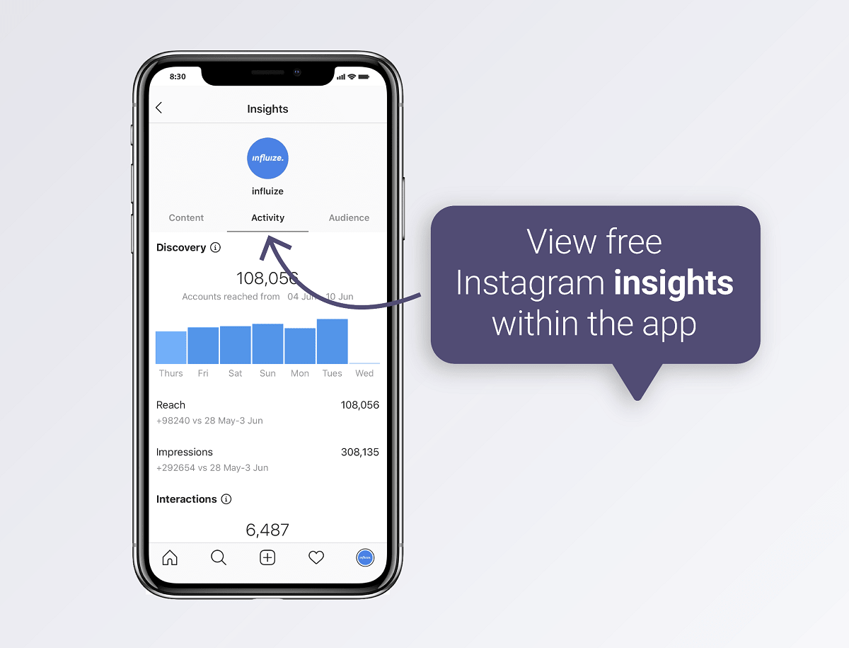 View Instagram insights within the app